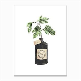 Gin Bottle Vase Canvas Print
