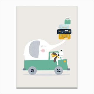 Elephant And Dog Go Wild Canvas Print