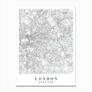 London England Street Map Minimal Color Canvas Print