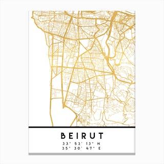 Beirut Lebanon City Street Map Canvas Print