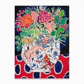 Lion Tiger And Cheetah Floral Still Life Canvas Print