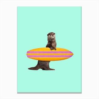 Surfing Otter Canvas Print