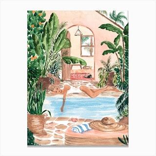 Poolside Siesta 2 Canvas Print