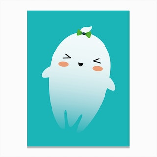 Nursery Kawaii Ghost Canvas Print