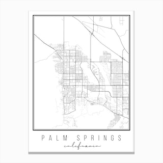 Palm Springs California Street Map Canvas Print