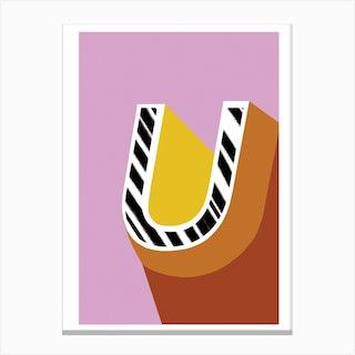 U Geometric Font Canvas Print