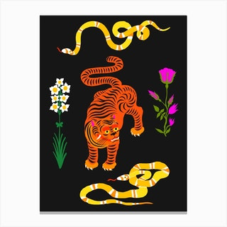 Tiger And Snakes Flowers Canvas Print