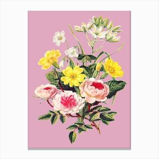Vintage Bouquet Flowers Floral Illustration Pink Canvas Print