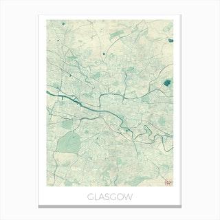 Glasgow Map Vintage in Blue Canvas Print