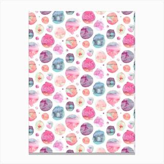 Big Watery Dots Pink Canvas Print