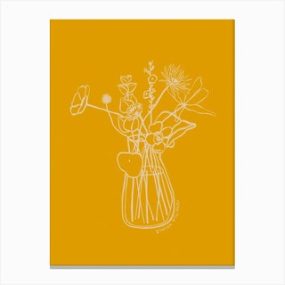 Flowers And Leaves In Yellow Canvas Print