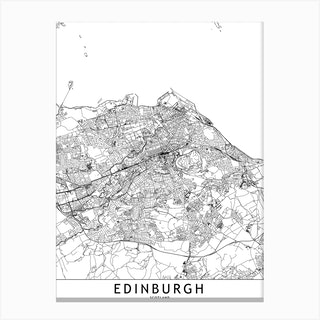 Edinburgh White Map Canvas Print