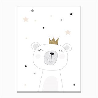 Scandi Cute Bear With Stars Canvas Print