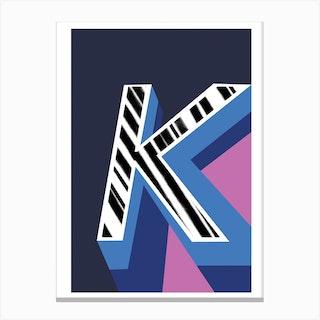 K Geometric Font Canvas Print