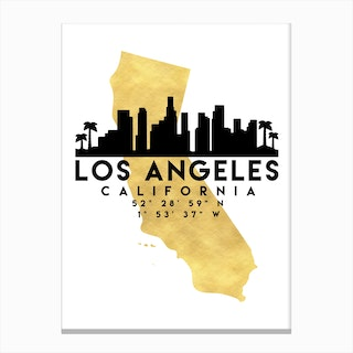 Los Angeles California Silhouette City Skyline Map Canvas Print