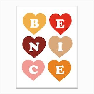 Be Nice In Retro Pop Canvas Print