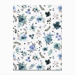 Countryside Watercolor Floral Blue Canvas Print