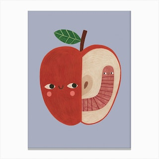 Apple And Worm Canvas Print