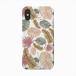 Nature Color Hand Drawn Tropical Leaves Pattern Phone Case