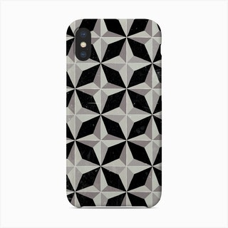 Geometric Black And Grey Retro Pattern Phone Case