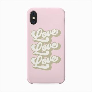Love Love Love Retro Pastel Pink Phone Case
