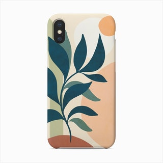 Earthy Tropical Foliage Blue 2 Phone Case