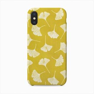 Ginkgo Biloba Leaves On Yellow Background Phone Case