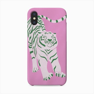 Tiger Doesnt Lose Sleep Pink And Green Phone Case