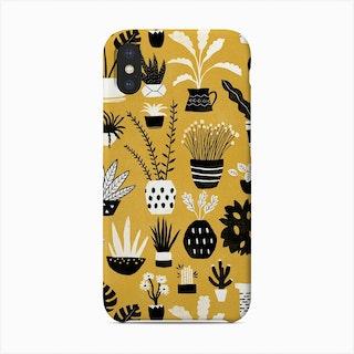 Botanicals On Mustard Background Phone Case