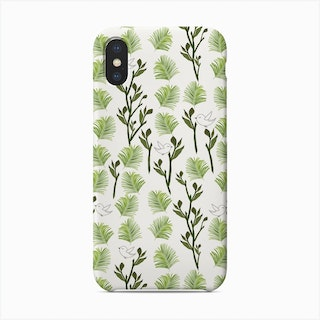 Tree, Birds And Palm Leaves Tropical Minimal Pattern Phone Case