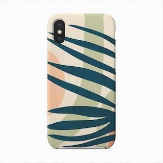 Earthy Tropical Foliage Blue 4 Phone Case