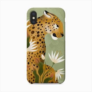 Fierce Leopard In Green Phone Case