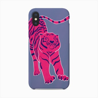 Tiger Doesnt Lose Sleep Pink And Blue Phone Case