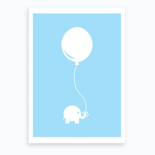 Elephant with Balloon (Blue) Art Print