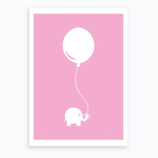 Elephant with Balloon (Pink) Art Print