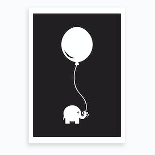 Elephant with Balloon (Black) Art Print