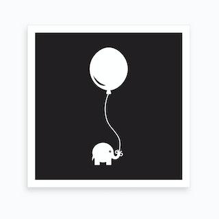 Elephant with Balloon (Black) - Square Art Print
