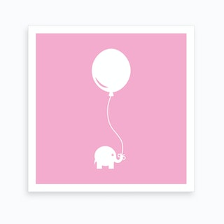 Elephant with Balloon (Pink) - Square Art Print
