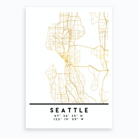 Seattle Washington City Street Map Art Print
