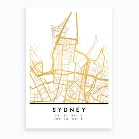 Sydney Australia City Street Map Art Print