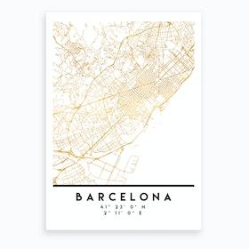 Barcelona Spain City Street Map Art Print