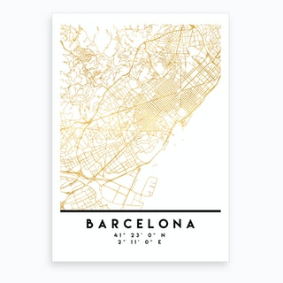 Barcelona Spain City Street Map Art Print