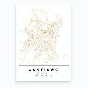 Santiago de Chile City Street Map Art Print