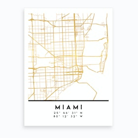 Miami Florida City Street Map Art Print
