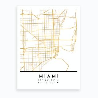 Miami Florida City Street Map Art Print
