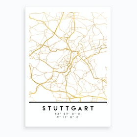 Stuttgart Germany City Street Map Art Print
