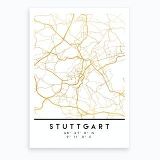 Stuttgart Germany City Street Map Art Print