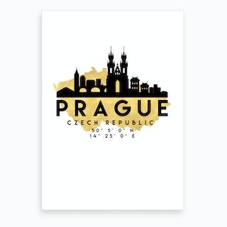 Prague Czech Republic Silhouette City Skyline Map Art Print
