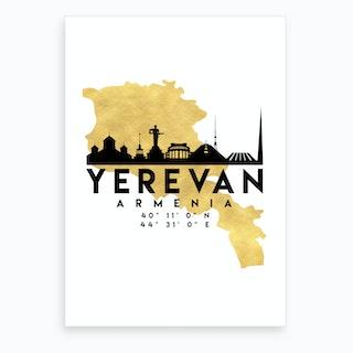 Yerevan Armenia Silhouette City Skyline Map Art Print