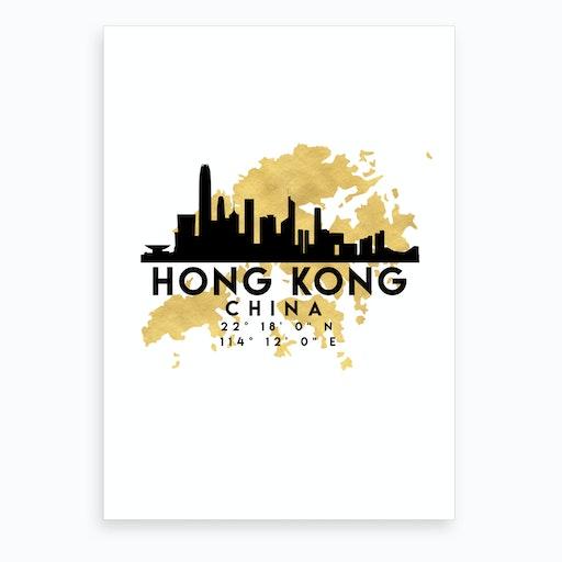 Hong Kong China Silhouette City Skyline Map